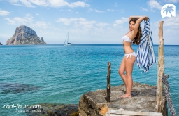 Tricolor Blue Marine - Alice Blue - White Yatching fouta by Cool-Fouta, Photo: Jose Antonio Hervas Mora - Ibiza Lights, Model: Andrew Varel-la, Make up & Hair: Coco Bliss