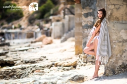 Tricolor Blue Navy - Grey - White fouta by Cool-Fouta, Photo: Jose Antonio Hervas Mora - Ibiza Lights, Model: Andrew Varel-la, Make up & Hair: Coco Bliss