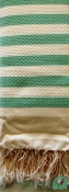 Honeycomb Cream - Paris Green stripes by Cool-Fouta
